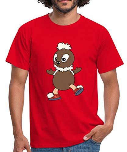 Spreadshirt Sandmännchen Und Seine Freunde Pittiplatsch Männer T-Shirt, M, Rot -