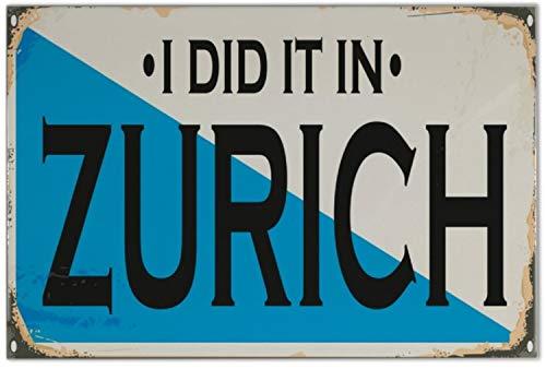 Fliese Kachel Retro Metropole Zürich Schweiz Keramik bedruckt 20x30 cm