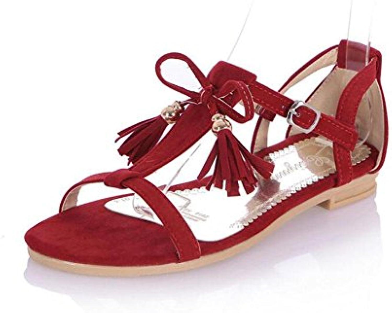 MUJER Peep Toe Sandalias Pajarita Borla Zapatos Matte PU Tamaño Grande Sandalias Mujer Femenino 2017 Nuevo , red...
