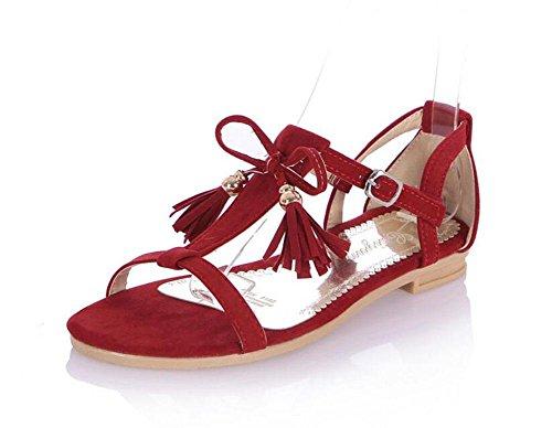 DONNE Peep Toe Sandali Bow Tie Tassel Scarpe Matte PU Big Size Sandali Donna Femmina 2017 Nuovo Red
