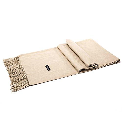 LeKuni Schal Damen Herren Unisex Kaschmir-Mischung Modeschal Pashmina langer Cashmere weicher warmer modischer Cape Umhang Unifarben,Beige