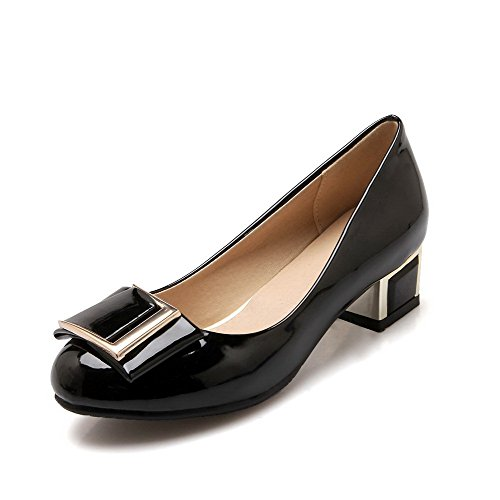 AllhqFashion Femme Tire Verni Rond à Talon Bas Couleur Unie Chaussures Légeres Noir