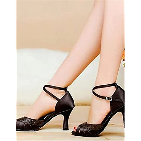 ELA- Scarpe da ballo - Non personalizzabile - Donna - Latinoamericano - Tacco spesso - Satin - Nero / Blu / Marrone , black-us7.5 / eu38 / uk5.5 / cn38 , black-us7.5 / eu38 / uk5.5 / cn38