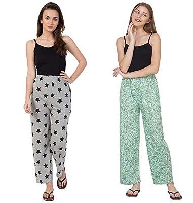 Fflirtygo Night Pyjamas for Women, Night Dress, Lounge Wear, Combo of Grey and Green Cotton Pyjama (Pack of 2),-Soft Cotton Night Wear Combo Pack- Rs. 50/- Saving