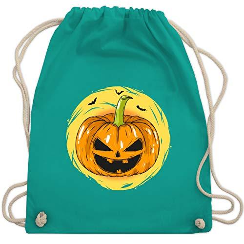 Halloween - Halloween Kürbis Gesicht - Unisize - Türkis - WM110 - Turnbeutel & Gym Bag (Familien Halloween Kostüm Ideen)