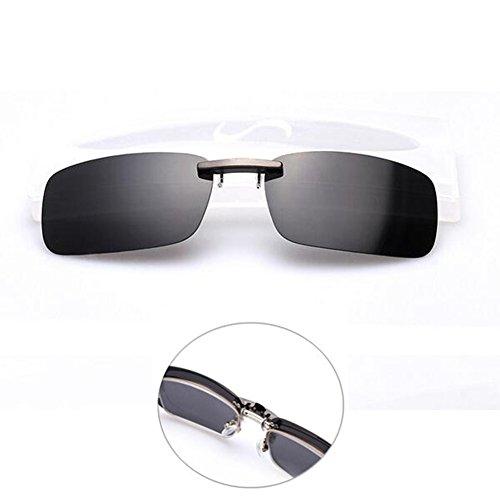 Shsyue® Polarisierte Sonnenbrille Clip für Brillenträger UV400, Anti-UVA anti-UVB Unisex Schwarz