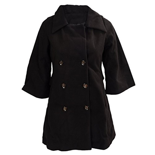 Mantel - SODIAL(R)Damen Schlank Asymmetrisch Schoesschen Saum Revers Mantel schwarz S