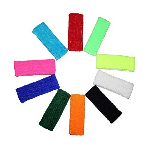 Kurtzy Multipack 10 Cintas para la Cabeza Cintas para Sudor Deportes para Hombres, Mujeres y Niños - Cintas Elásticas para Deportes, Ciclismo, Gimnasia y Atletismo - Colores Brillantes (Multi colors)