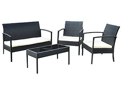 Gartenmöbel Gartenset Poly Rattan Lounge Sitzgruppe grau Garnitur Set #3381 von MALATEC - Gartenmöbel von Du und Dein Garten