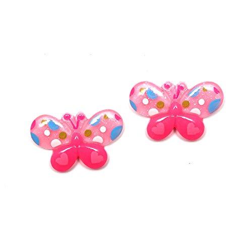 Idin- Pendientes de clip. Mariposas rosas de lunares (aprox. 21 x 14 mm)