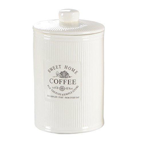 DRULINE Vorratsdose Kaffeedose Teedose Zuckerdose Shabby Chic Creme Weiß Keramik SWEET HOME...
