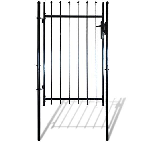 Anself Einzelnes Zauntor Tür mit Speer Spitze 100 x 120 cm