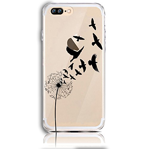 iPhone 7 Plus Silikon Hülle,iPhone 8 Plus Hülle,Sunroyal TPU Case Schutzhülle Silikon Crystal Kirstall Clear Case Durchsichtig,Basketball Shoot Malerei Muster Transparent Weichem Silikon Schutzhülle H Pattern 40