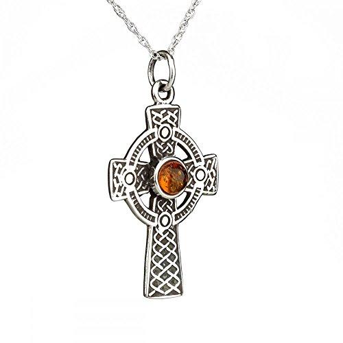 The Iona Cross - Keltisches Kreuz aus Sterling Silber und echtem Bernstein