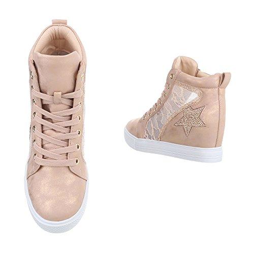 Ital-Design Sneakers High Damenschuhe Sneakers High Keilabsatz/Wedge Keilabsatz Reißverschluss Freizeitschuhe Altrosa JK-53