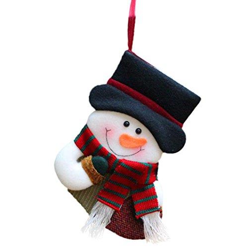AMUSTER Mode Regali Di Natale Candy Beads Natale Babbo Natale Snowman Calzini Decorazioni (B)