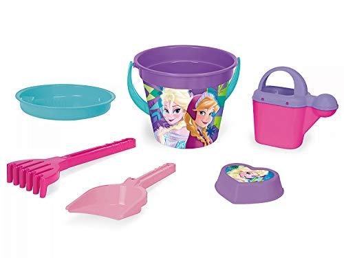 Wader 77937 Eimergarnitur Disney Frozen mit Eimer, Sieb, Wasserkanne, Schaufel, Rechen und Sandform, 6 teilig, bunt (Kleinkind Spielzeug Frozen)