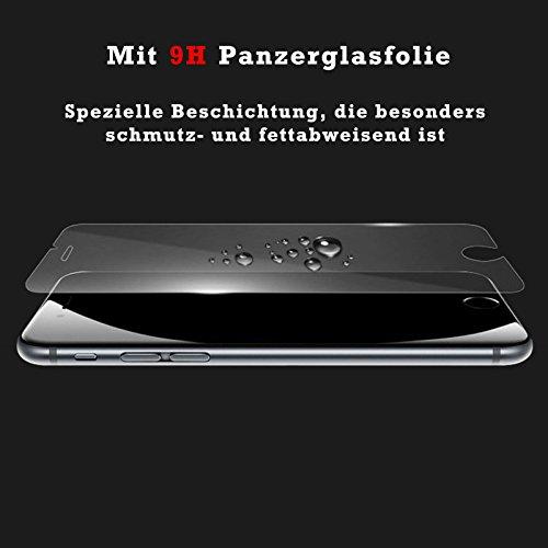 eximmobile–Book Case Cover + Pellicola protettiva in vetro temperato per Apple Iphone | Custodia in 11colori con scomparti per carte di credito in pelle PU cassa | Pellicola in Vetro Temperato Prot Blau