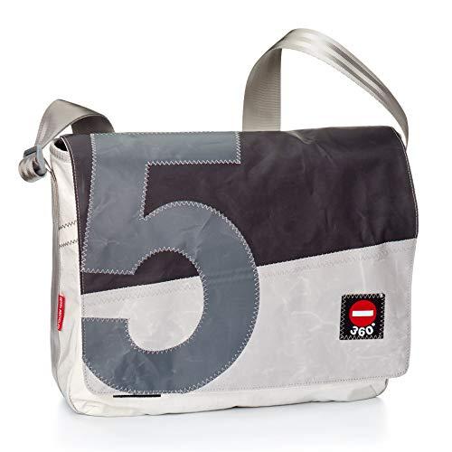 360° Barkasse Segeltuchtasche, Recycling Laptoptasche bis 15'' Zoll, Umhängetasche weiß schwarz grau mit Zahl, Messengerbag