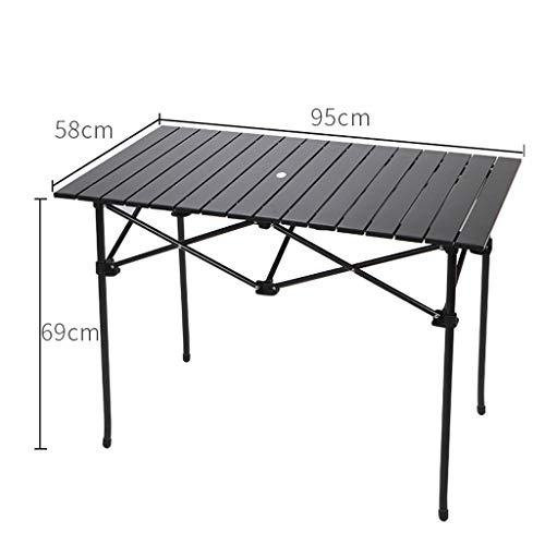 NJ Table Pliante- Table en Aluminium légère extérieure, Table Se Pliante portative Hors du Champ (Couleur : Noir, Taille : 95x58x69cm)