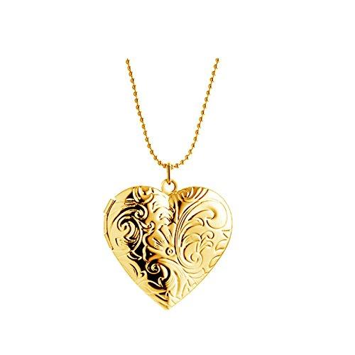 Aooaz Schmuck Edelstahl Foto Medaillon zum Öffnen Photo Bilder Amulett zum öffnen mit kette Herz Anhänger Halskette Kette Gold Kette 40cm