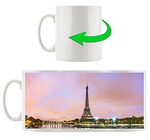 Torre Eiffel illuminata tazza motivi in ??bianco 300ml ceramica, grande idea regalo per ogni occasione. La tua nuova tazza preferita per caffè, tè e bevande calde.