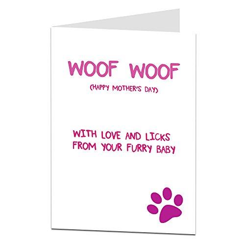 """Woof Woof Glückwunschkarte """"Happy Mother's Day"""", vom Hund, englischsprachig"""