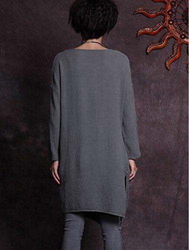 MatchLife Femme Irrégulier Fente Manches Longues Robe Gris