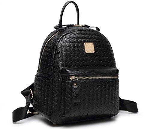 SHFANG Dame-Doppelt-Schulter-Beutel-Freizeit PU-große Kapazität Einfacher Hochschulart Spielraum-Rucksack Drei Farben 0.72KG , gold black