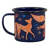 Folklore FOL144 Mug en émail Motif renard Bleu marine...