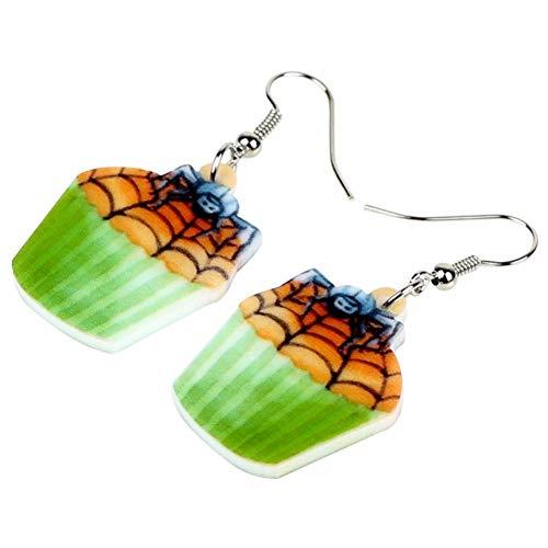 ZHUBAOO Ohrring Acryl Halloween Spinnennetz Cupcake Ohrringe Baumeln Mode Niedlichen Schmuck Für Frauen Mädchen Weibliche Geschenk Party