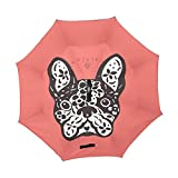 XiangHeFu double layer Inverted Reverse ombrelloni cute Dog Day Bulldog francese Sugar Skull pieghevole antivento protezione UV Big dritto per auto con manico a C