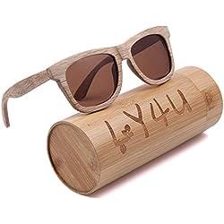 LY4U de madera para hombre y gafas de sol para mujer, gafas Vintage, gafas de sol flotantes con caja de bambú (Marrón Nuevo)