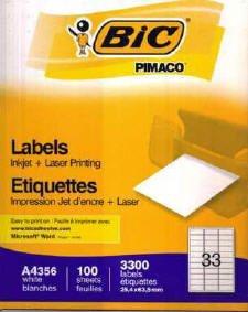 Preisvergleich Produktbild BIC–A4Etiketten für Tintenstrahldrucker und Laser–100Blatt