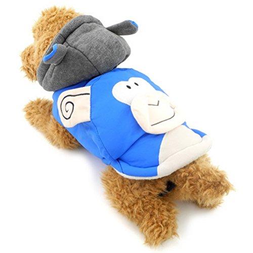 Affen Weibliche Kostüme (zunea Kleiner Hund Kleidung für weiblich männlich Hoodies Hundemantel Winter Affe Kostüm Kapuzenanorak mit)