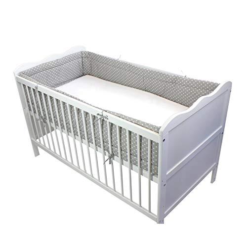 TupTam Baby Nestchen für Babybett Gemustert, Farbe: Tupfen Grau, Größe: 420x30cm (für Babybett 140x70) -