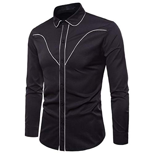 PAOLIAN Herren Hemd Gestreifte Langarmshirts Herbst Stilvolle Casual Slim Fit Hemd Business Shirt Top Bluse Oberteile