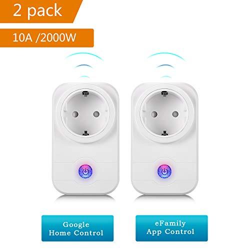 Wifi Steckdose,Smart Wifi WLAN Home Steckdose, intelligente Funksteckdose Wifi Adapter mit Amazon Alexa (Echo und Echo Dot) und Google Home App Steuerung für IOS und Android,2 Pack