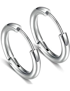 Bishilin Modeschmuck 2PCS Edelstahl Ohrringe für Paar 18MM Piercing Creole Silber Partner Ohrringe