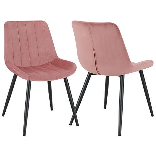 Duhome 2er Set Esszimmerstuhl aus Stoff Samt Rosa Pink Polsterstuhl Retro Design Stuhl mit Rückenlehne Metallbeine Farbauswahl 8075C3