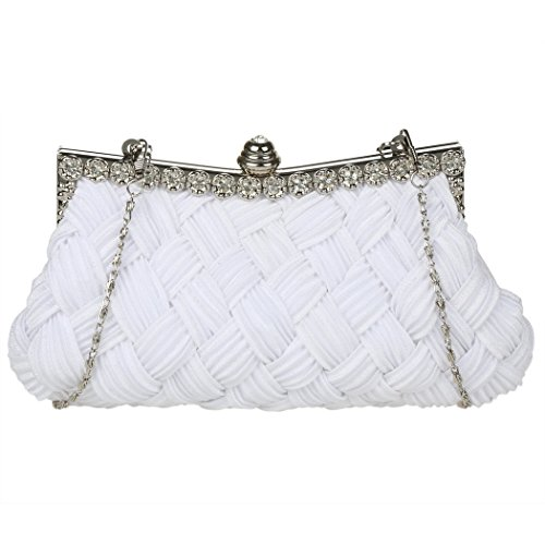 Umhängetasche - All4you Damen Handtasche glänzenden Strass Abendtasche mit Chain(White) (Unterschrift Tasche Schulter Drucken)