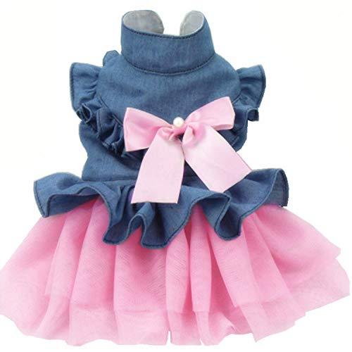 JHC Ropa para Perros, Falda para Perros, Otoño E Invierno, Ropa para Perros Vestido De Novia Adecuado para El Busto 30-55cm (Rosa),Pink-XXL