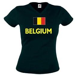 World-of-Shirt Belgium/Belgien Damen T-Shirt WM 2014|s-m