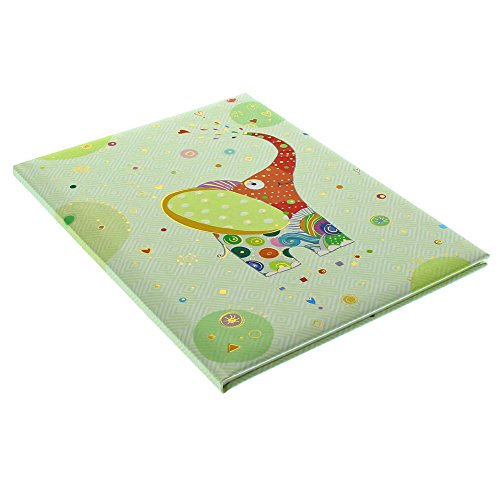Goldbuch Babytagebuch, Elephant, 21 x 28 cm, 44 illustrierte Seiten mit Pergamin-Trennblättern, Kunstdruck mit Goldprägung und Relief, Grün, 11439
