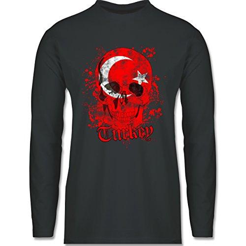 Shirtracer Länder - Turkey Schädel Vintage - Herren Langarmshirt Dunkelgrau