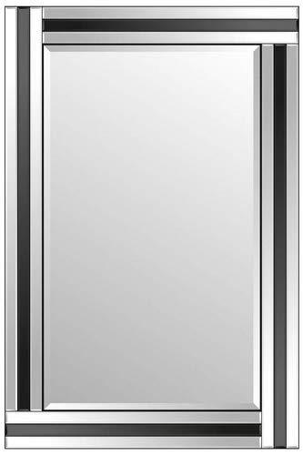 CHIC Modern Art Deco - Espejo de Pared Rectangular 90 x 60 cm, Color Negro y Transparente
