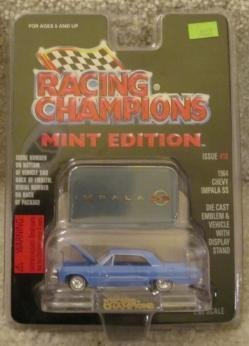 1964-blue-chevy-chevrolet-impala-ss-racing-champions-mint-condition-die-cast-emblem-vehicle-with-dis