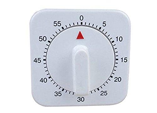Da.Wa 60 Minute Quadrat Timer Mechanischer Zeitschaltuhr Erinnerung für Küche,1 Stück, Weiss - 60-minuten-zeitschaltuhr