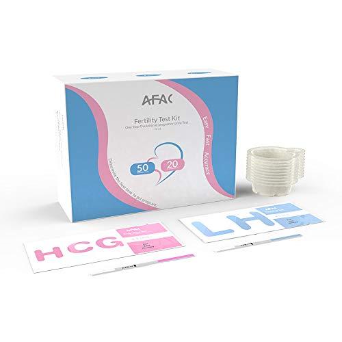AFAC 50 Test Ovulazione + 20 Test Gravidanza + 70 Coppette per Urina, 70 sacchetti di alluminio confezionati singolarmente, Strisce reattive per urina (50 LH + 20 HCG + 70 TAZZE)