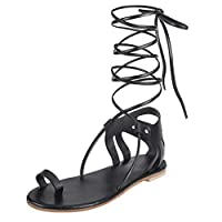 EUzeo_Sandals Clearance EUZeo Ladies Womens Knee HIGH Gladiator Sandals Flat LACE UP Strappy Summer Shoes Size Black